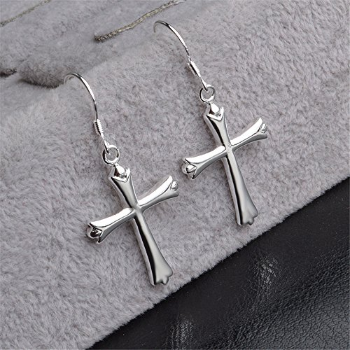 Cross Sterling Earrings - skyllc Genuine Sterling Silver Cross Earring Stud Eardrop Jewelery for Women