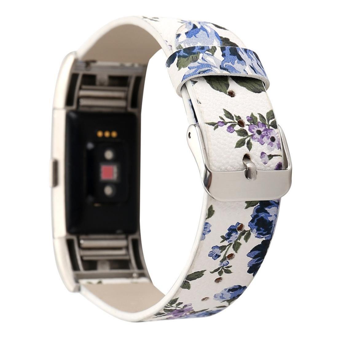 Malloomフローラルパターンレザー腕時計バンド交換用ストラップブレスレットfor Fitbit Charge 2  E B075RVY4WL