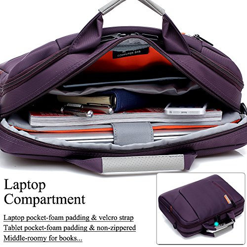BRINCH Nylon Waterproof Laptop Case with Side Pockets for Macbook Pro Retina 15 inch Mini Asus/DELL/HP/Samsung ,15.6-Inch, Purple by BRINCH (Image #3)'