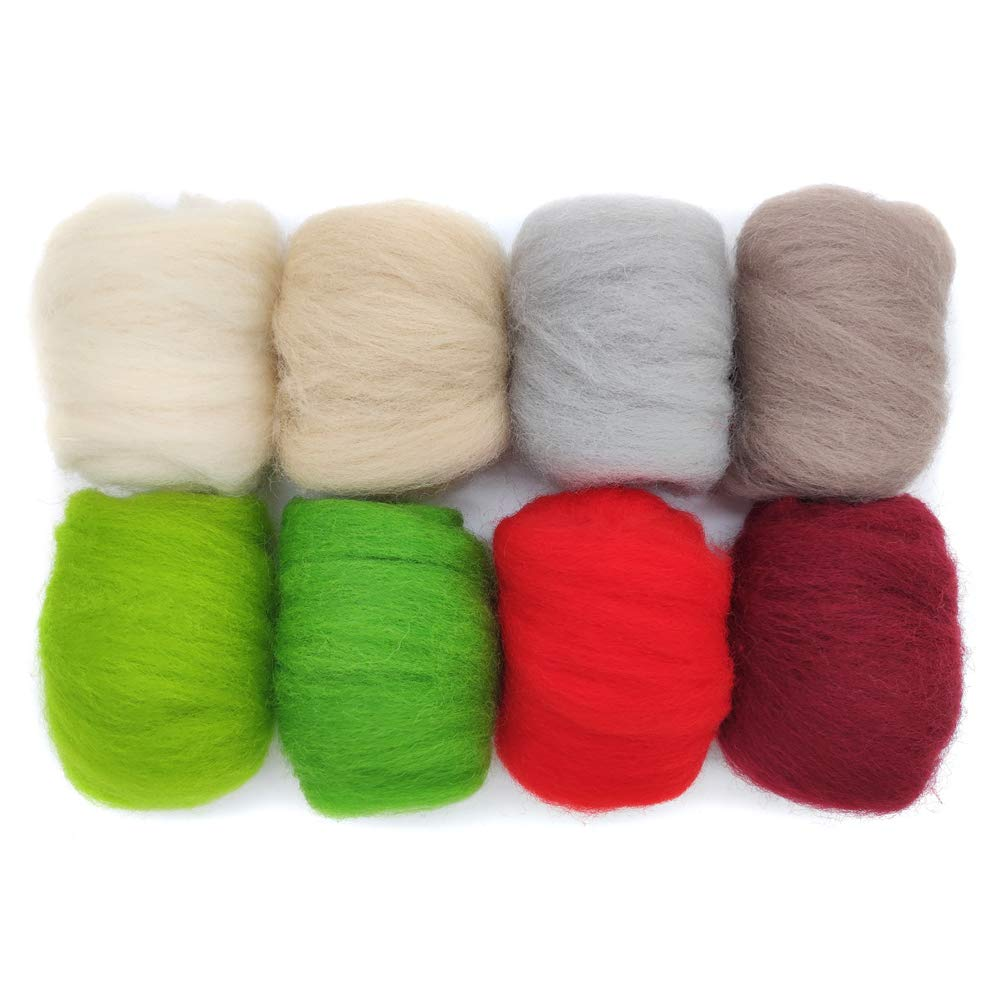 19 Microns Eco-Friendly Super Soft Natural Artec360 8 Pack Needle Felting Wool Roving Total 2.8 OZ Merino Wool 70S h
