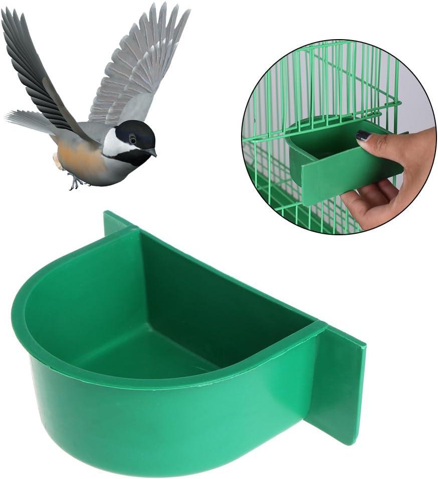 Cuigu Bebedero de Agua Comedero de Pájaros Plástico Diseño Redondo Ideal para Jaula de Pájaros