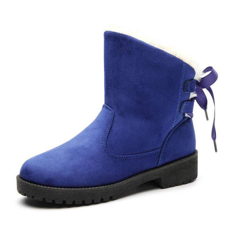 Hy Frauen Stiefelies, Winter Baumwollschuhe, Damen Plus Kaschmir Warm Winddicht jetzt Stiefel, große Größe Stiefeletten Outdoor-Übung Snowsports Ski-Schuhe (Farbe : Blau, Größe : 5)