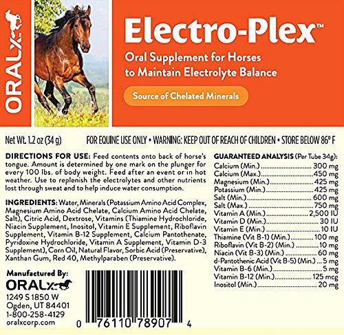 Oralx Electro-Plex Electrolyte Paste for Horses. Feed After Workouts, Events or in Hot Weather. Replenishes Electrolytes & Nutrients. Encourages Water Consumption. Easy-Dose Syringe. 1.2 Oz. by Oralx (Image #2)