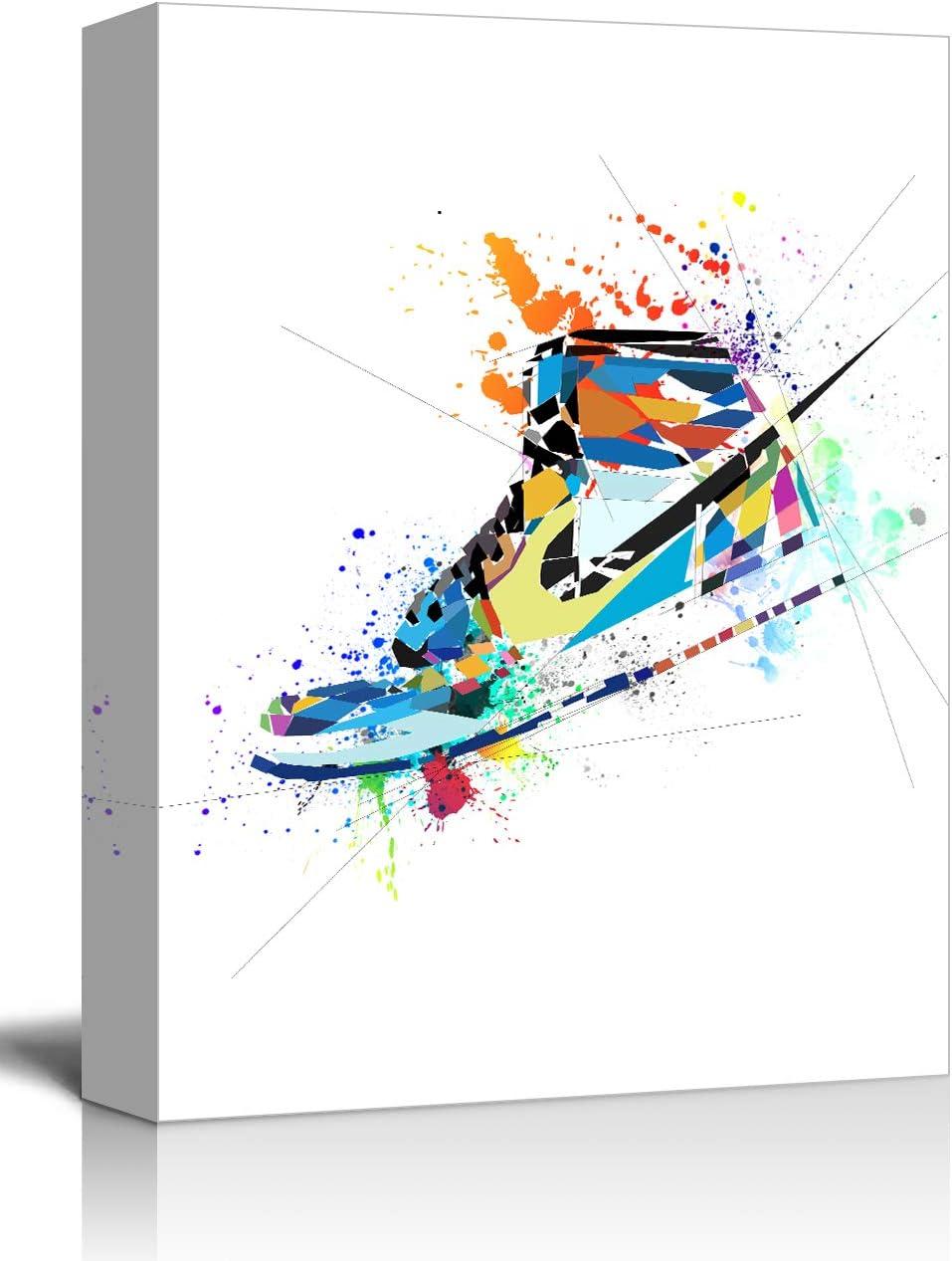 "suwenxia Gym Shoes Canvas Art Sports Themed Wall Art for Boys Room Wall Decor Boys Gift Office Framed Wall Art Room Office Decoration 12""x16"""