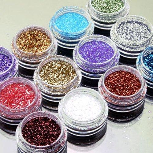 Facilla Glitzerpuder für Nageldesigns, 12 Döschen mit verschiedenen Farben