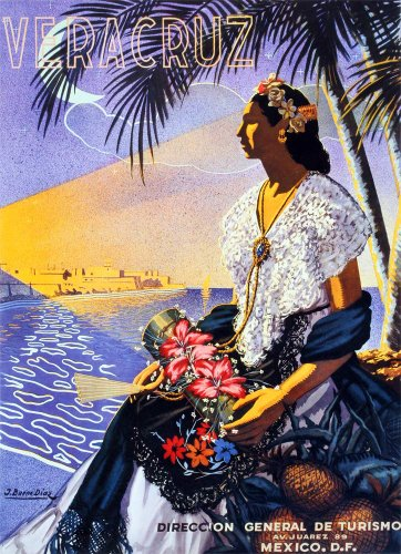 Mexico VeraCruz Woman with Flowers. Vintage Advertising Travel Reproduction Print Poster (17 x 23.5) by vintage poster travel
