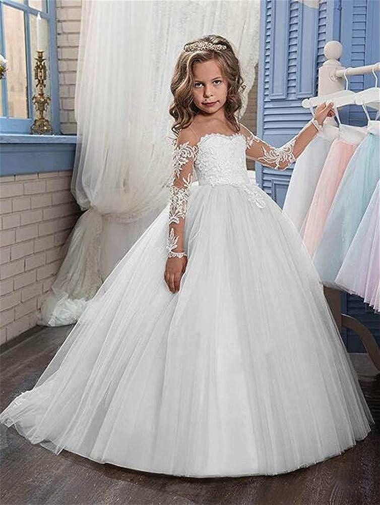 Honeydress Girls White Flower Girl Dresses for Wedding Simple Floor Length First Communion Dresses for Girl
