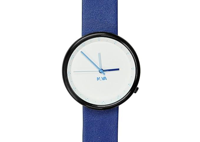 Nava Design O450HE - Reloj analógico de cuarzo unisex, correa de cuero color azul