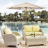 9 Ft Wooden Patio Umbrella Sun Shade Wood Pole Outdoor Beach Cafe Garden Beige