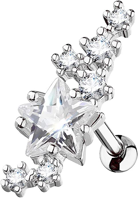 Tragus Barbell Studs Lined Cluster CZ Stars with Large Star Center 316L Surgical Steel WildKlass Cartilage