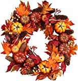 Woodbury Pumpkin Harvest Silk Fall Front Door Wreath 22 Inches - Brightens Front Door Decor With Vibrant Fall Colors, All Weather Outdoor Wreath That Lasts For Years, With Beautiful White Gift Box