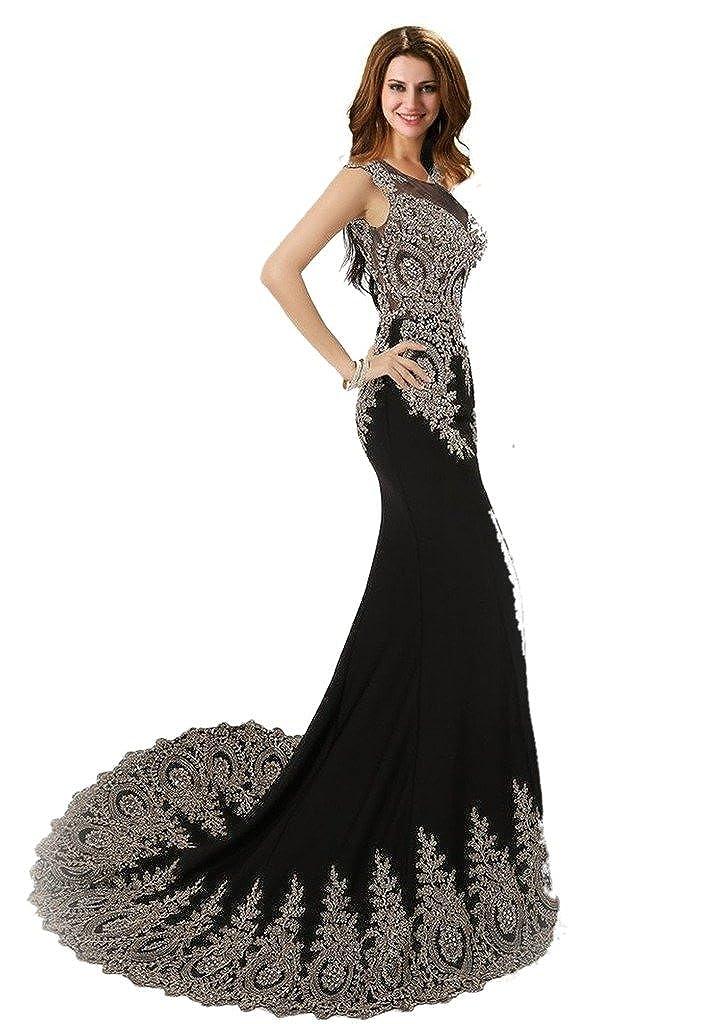 1fa2303b860a Amazon.com: Dearta Women's Mermaid/Trumpet Scoop Neck Sweep/Brush Train  Tulle Prom Dresses: Clothing