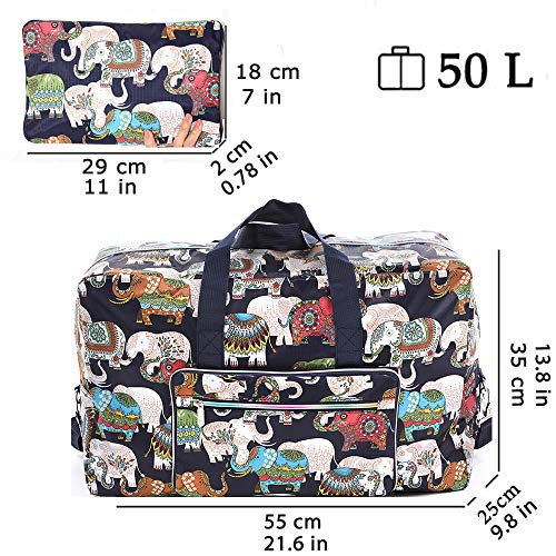Foldable Travel Duffle Bag for Women Girls Large Cute Floral Weekender Overnight Carry On Bag for Kids Checked Luggage Bag (Z-India Elephant)