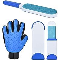 Lukovee Conjunto de guantes para aseo, cepillo de aseo personal, cepillo de pelo reutilizable de doble cara y cepillo de tamaño de viaje con base autolimpiante, herramienta de eliminación de pelo de gato para perros con guante de novio para sofá (Azul)