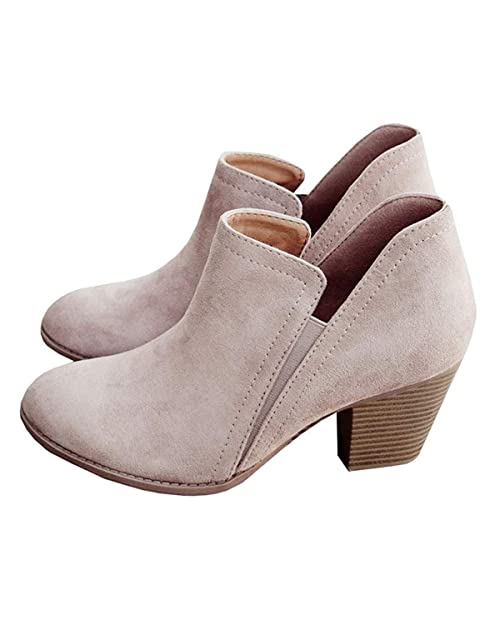 5e950554f6f23 Womens Side Cutout Ankle Boots Stacked Block Chunky Heels Slip On Fall  Western Booties