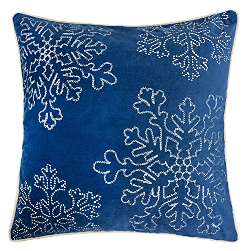 Homey Cozy Embroidery Blue Velvet Throw Pillow Cover, Merry Christmas Series Snowflake Luxury Soft Fuzzy Cozy Warm Slik Gift Square Couch Cushion Pillow Case 20 x 20 Inch, Cover Only