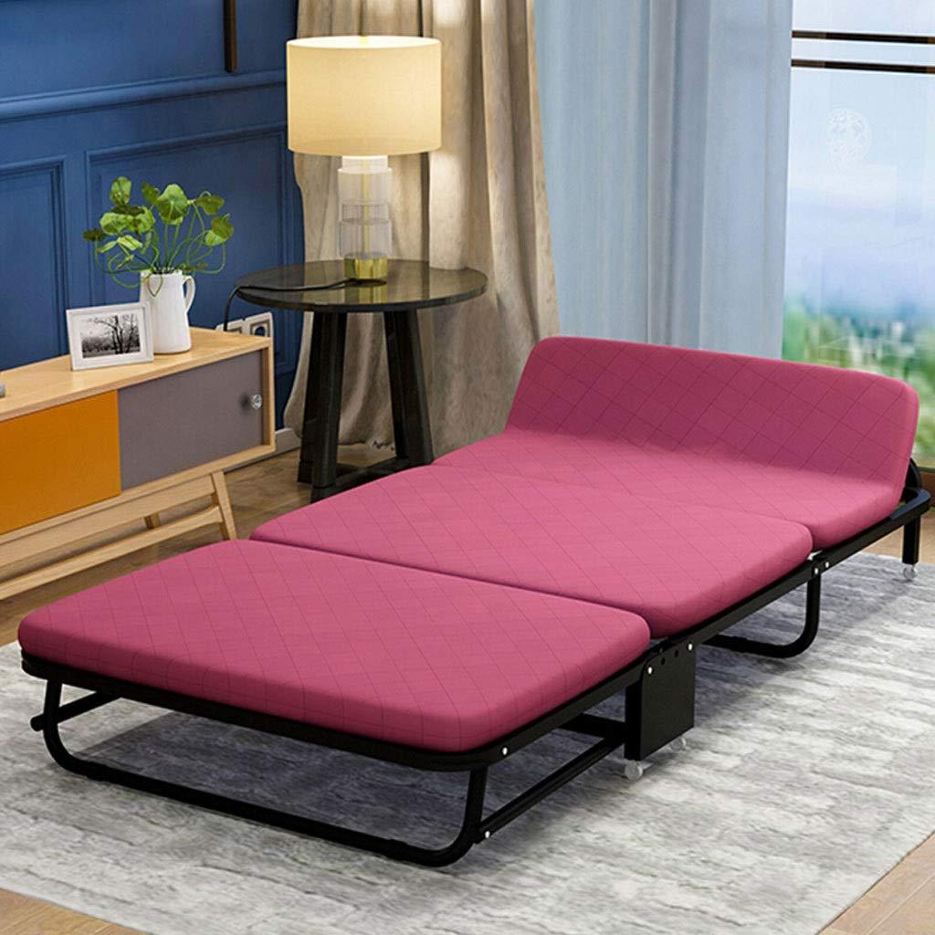 Faltendes Einzelbett mit Rolle, Tragbares Einfaches Hauptschläfchen-Bett-Büro-Schwamm-Bett-dreifaches Sofabett (Color : Wine red Color, Size : 75cm)