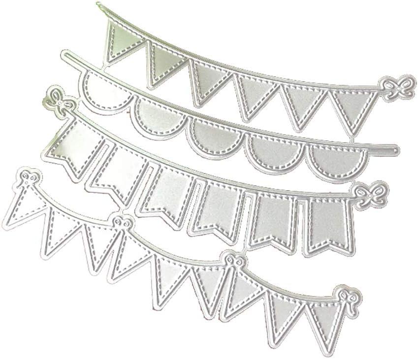 YSoutstripdu 4Pcs//Set Silver Triangle Circle Banners Metal Cutting Dies DIY Scrapbooking Stencils