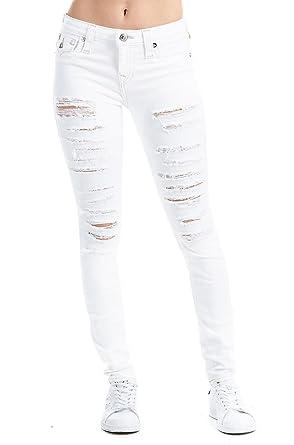 854e078b3ea True Religion Women s Super Skinny Distressed Jeans w Flap in Optic White  ...
