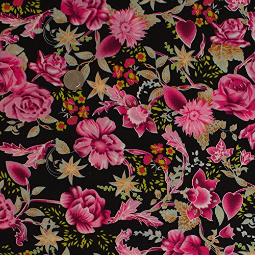 Rose Garden Stretch Jersey Knit ITY Print Pink Orange Fabric