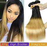 (US) MAOYUAN 10A 3pcs Cheap Two Tone Brazillian Virgin Hair straight 100g/pc Ombre Human Hair Weave Extensions Honey color 1B/27 Brazilian Hair Weft (14inch)