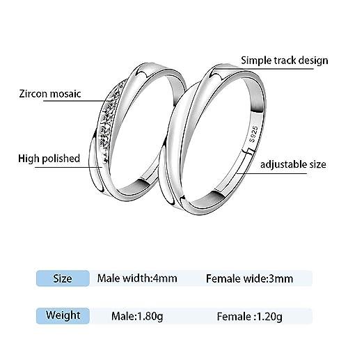 WikiMiu Anillos de parejas, Plata de 925, Anillos de zirconia cúbica, tamaño ajustable, regalo perfecto para el día de San Valentín hombres + mujeres, ...