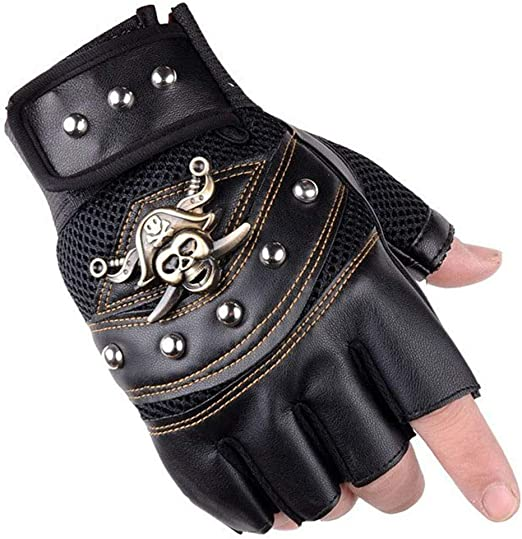 Captain Half Fingerless Mittens Rocker Costume Accessory UTOWO Fingerless Studded-Gloves Mens Vintage Steampunk//Motorcycle