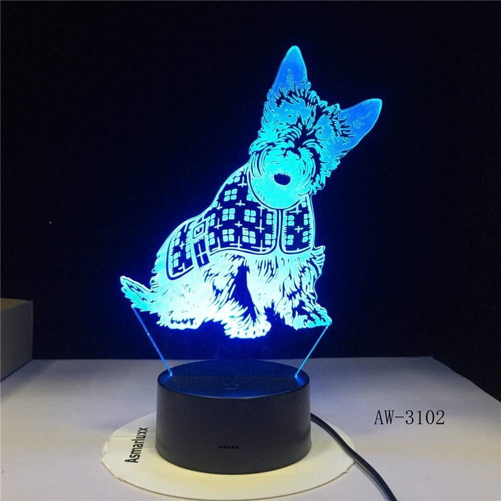 Schnauzer Miniatura Barberon Corgi Lámpara diseñada para Perros Illusion Night Light Pet Puppy Variety Night Light Lámpara de Mesa