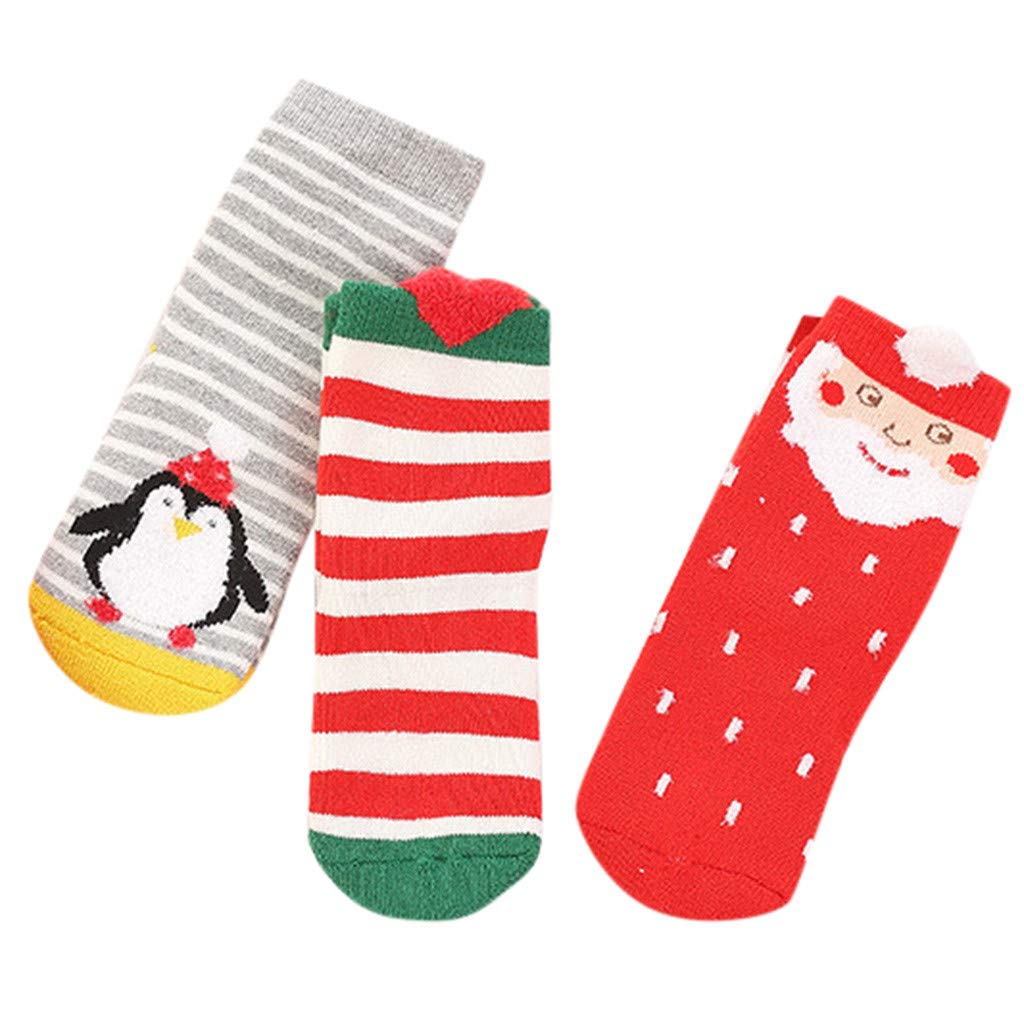 XNV 3 Pairs Baby Socks Newborn Kids Cartoon Warm Anti-Slip Christmas Unisex Socks