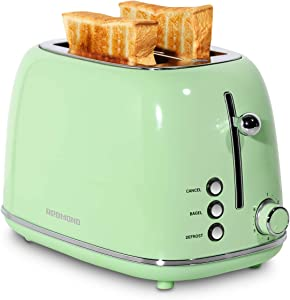 REDMOND 2 Slice Toaster Retro Stainless Steel Toaster with Bagel, Cancel, Defrost Function and 6 Bread Shade Settings Bread Toaster, Extra Wide Slot and Removable Crumb Tray, Mint Green, ST028