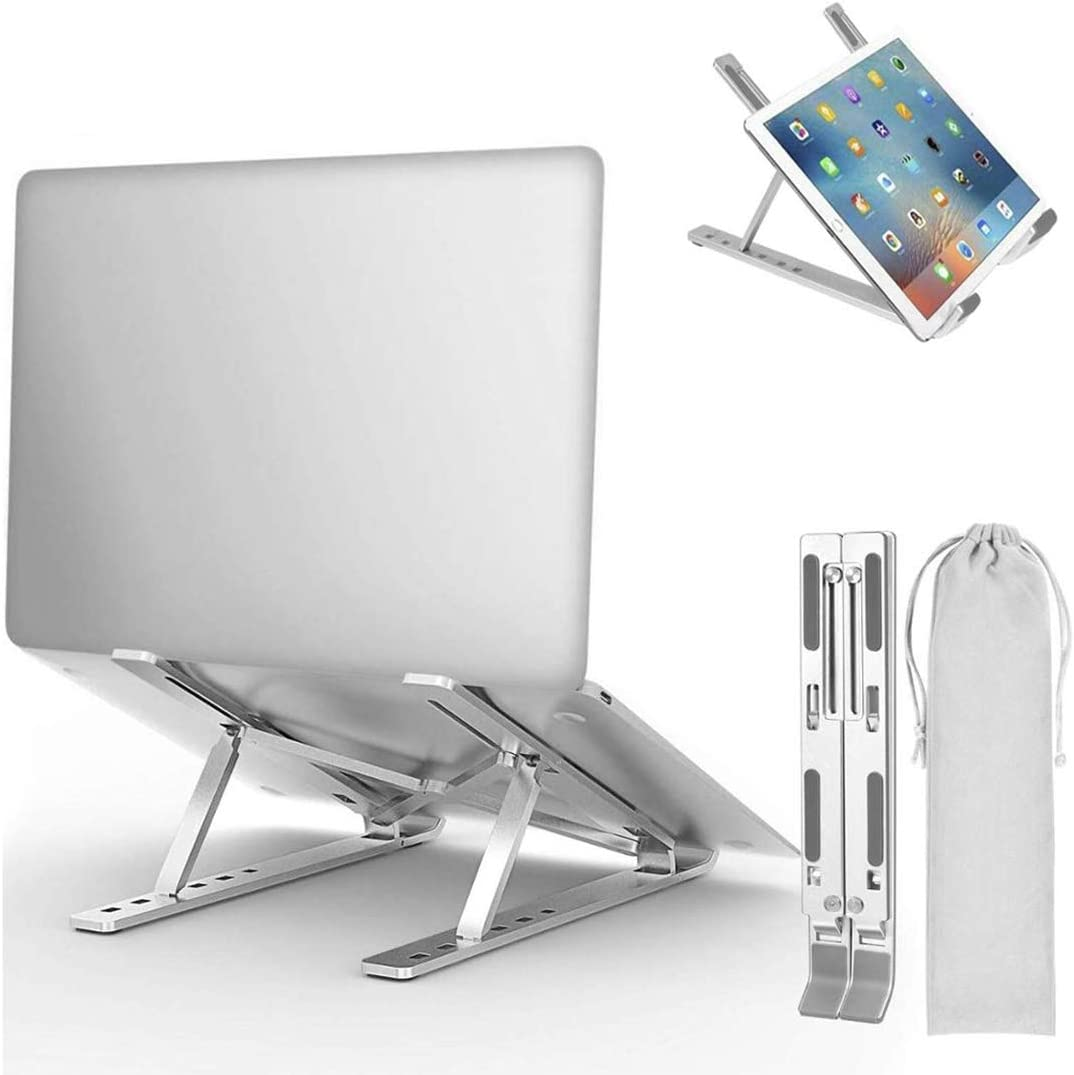 """Iwinna Laptop Stand, Adjustable Aluminum Laptop Computer Stand Tablet Stand, Foldable Portable Desktop Holder for MacBook Air Pro, Dell XPS, HP, Lenovo More 10-17"""" Laptops"""
