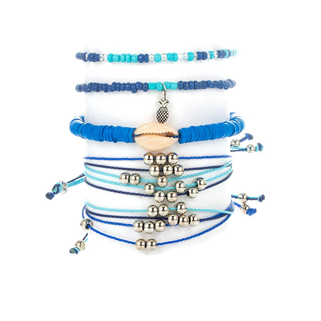 FENSIN 5 Pcs//D/éfinissez Profil Turtle Carte Coeur Cha/îne Cordon DAnanas Multicouche Cuir Bracelet Set Mode F/éminine V/êtements Accessoires