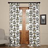 HPD HALF PRICE DRAPES PRTW-D47-84 Lumiere Printed Cotton Twill Curtain,Gold,50 X 84 For Sale
