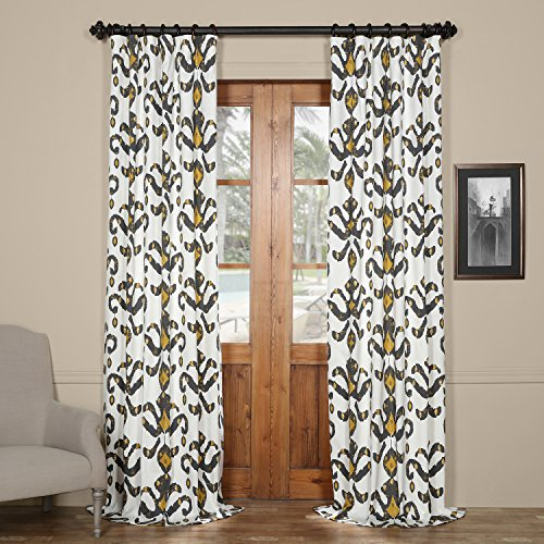 Lumiere Fabric - HPD HALF PRICE DRAPES PRTW-D47-108 Lumiere Printed Cotton Twill Curtain,Gold,50 X 108