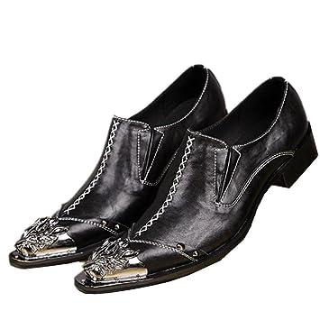 Zapatos de hombres Cuero Western Puntera de metal Moda Mocasines y Slip-On Apuntado Negocios Formal Club Boda Vestido Vintage Negro Rojo Tamaño 38 a 45: ...