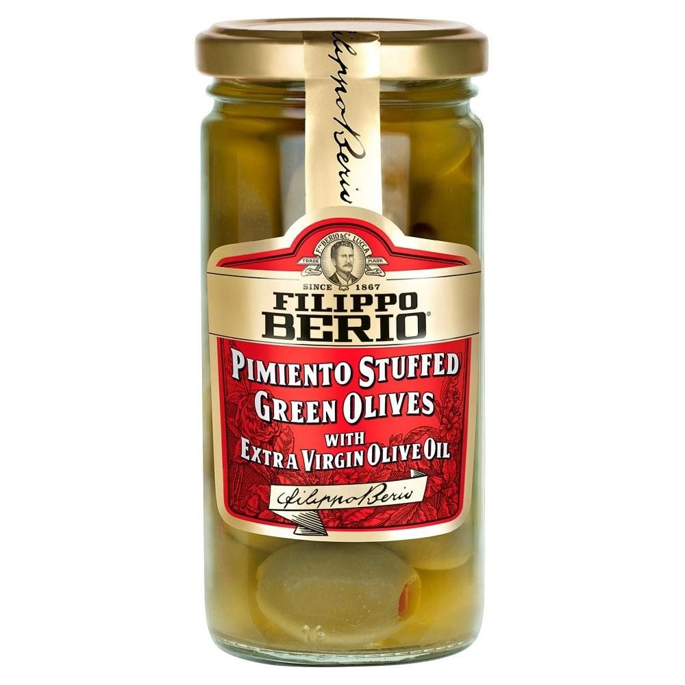 Filippo Berio Pimiento Stuffed Green Olives in Exra Virgin Olive Oil (230g) - Pack of 2