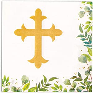 Church Paper Napkins for Baptism or Christening Party (6.5 x 6.5, 100 Pack)