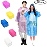 Samhe Rain Ponchos Disposable Universal Size With Hood Five Different Colors (10 Packs)