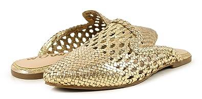 3bb82b431 Sam Edelman Women s Navya Woven Mules Gold Size  3.5 UK  Amazon.co ...