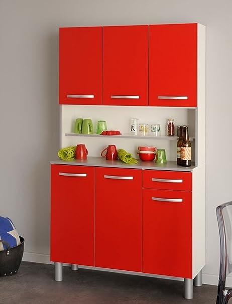 Mueble de cocina Seamus 101 x 181 x 44 cm 1 blanco rojo y ...
