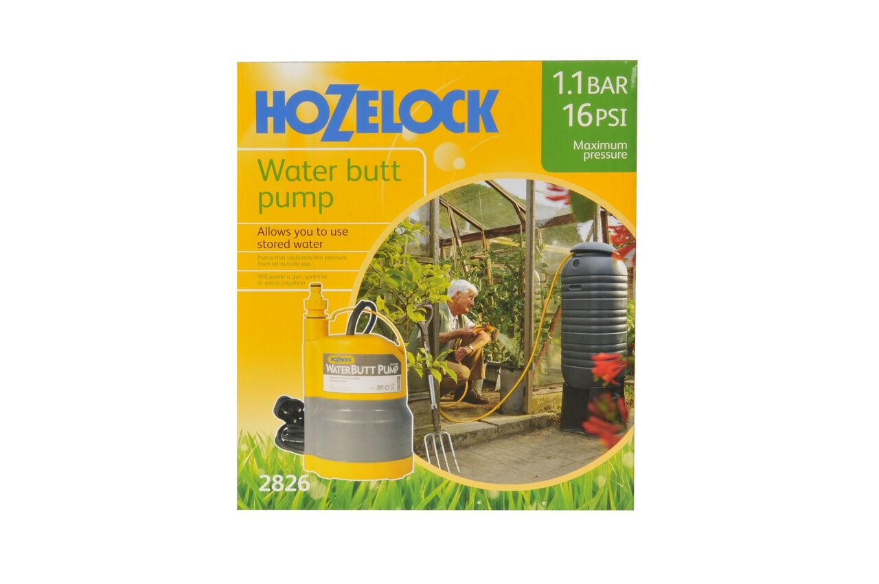 Hozelock 3-in-1 Water Butt High Pressure Pump 1.1 bar Max Pressure with Tap Connector Included Hozelock Ltd 2826P8000 Accessories Gardening