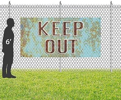 Classic Navy Wind-Resistant Outdoor Mesh Vinyl Banner Please Keep Off Grass 9x3 CGSignLab