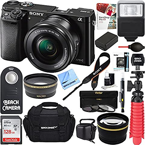 Sony Alpha a6000 24.3MP Wi-Fi Mirrorless Digital Camera + 16-50mm Lens Kit (Black) + 128GB Accessory Bundle + DSLR Photo Bag + Extra Battery+Wide Angle Lens+2x Telephoto - Sony 12 Inch