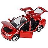 KMT Alloy Diecast Car Models Tesla Model X 90 Car Model (Red)