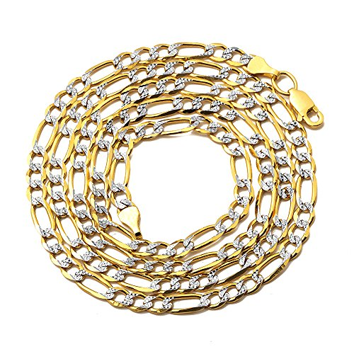 LOVEBLING 10K Yellow Gold 4.5mm Solid Pave Two-Tone Figaro Chain Necklace Lobster Lock (26)
