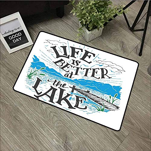 Outdoor Doormat,Cabin Decor Queen Size Life is Better at The Lake Wooden Pier Plants Mountains Outdoors Sketch,Super Absorbs Mud,24