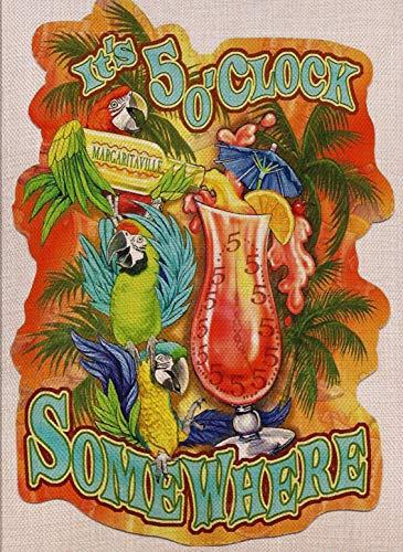 Selmad Summer 5 O'Clock Somewhere Garden Flag Parrot Margarita Double Sided, Tropical Palm Burlap Decorative House Yard Decoration, Funny Party Quote Nautical Beach Seasonal Outdoor Décor 12 x 18 (5 Oclock Somewhere Garden)