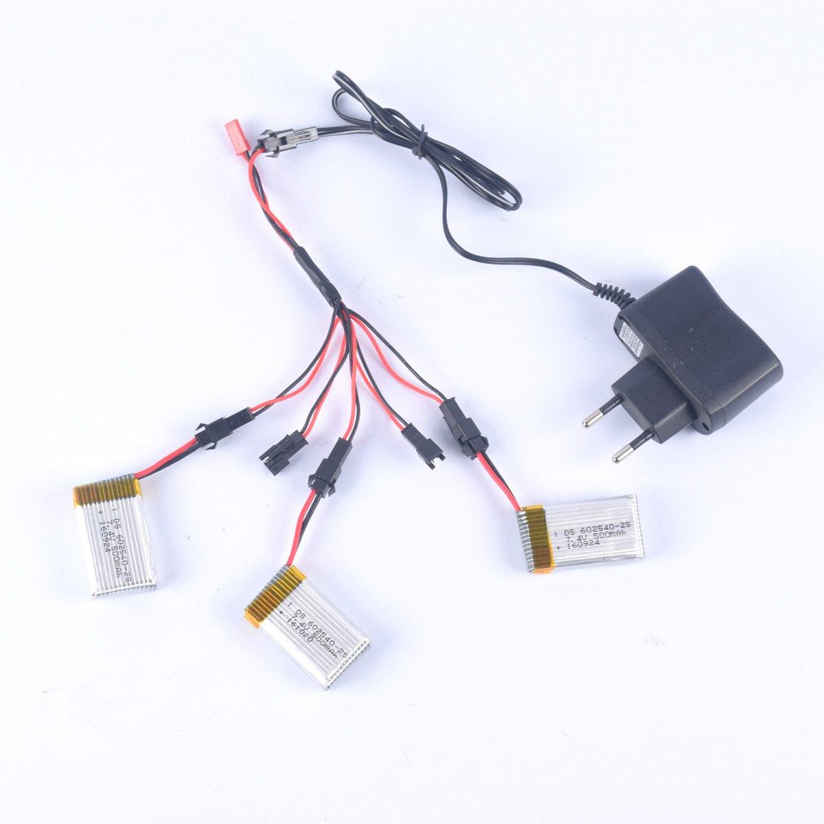 YouCute 3 pedazos 7.4V 500mAh baterías y cargador 1to5 para DFD ...