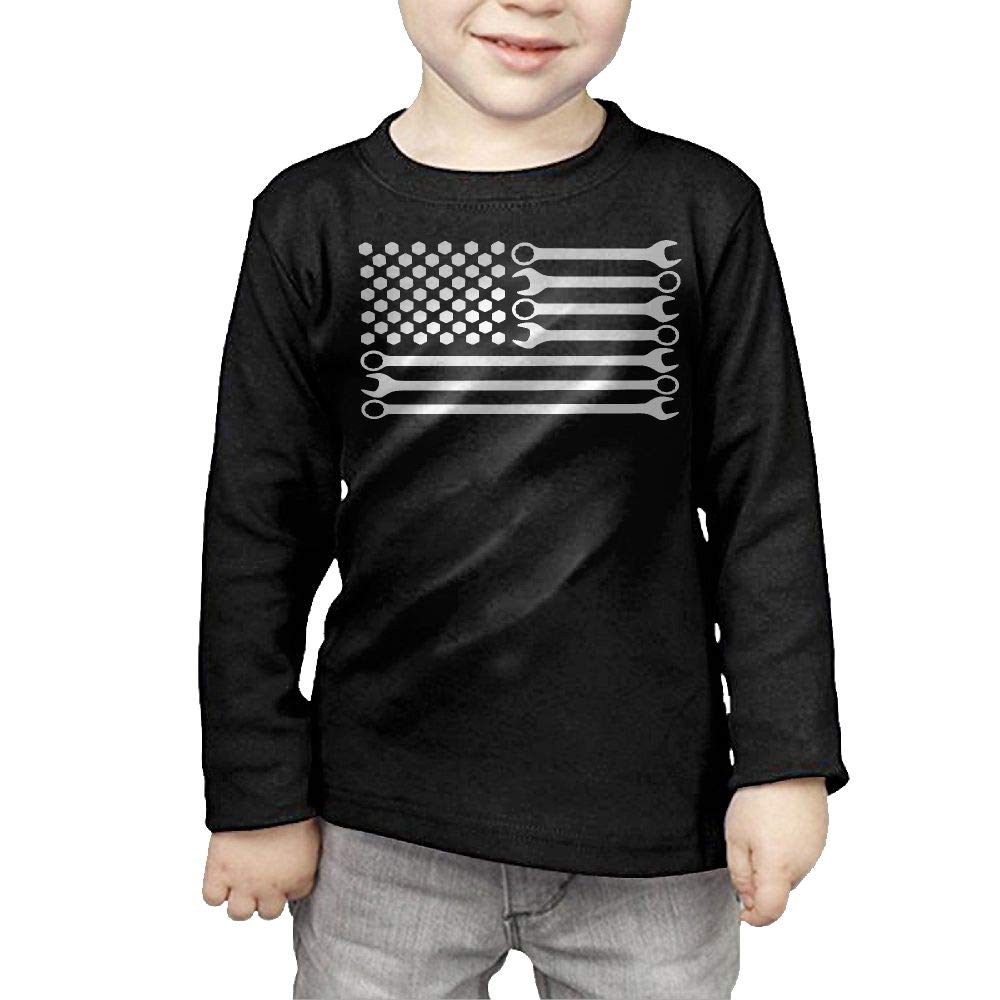 Fryhyu8 Toddler Kids Mechanic DIY Wrench American Flag Printed Long Sleeve 100/% Cotton Infants Tops