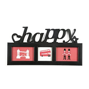 @Home Happy Cluster Plastic Collage Photo Frame (2.01 cm x 48.01 cm x 25 cm, Black)
